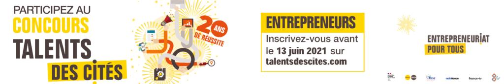 Visuel et logo du concours Talents des Cités 2021 appel à candidature